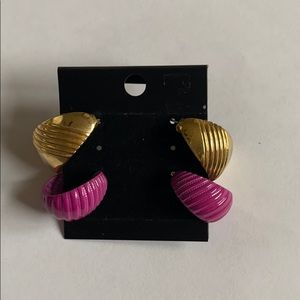 2 pair Vintage 80's hoop earrings gold and purple